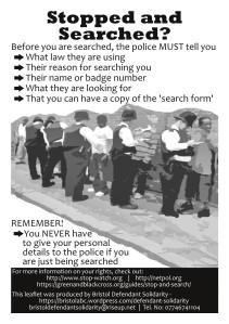 Flyer with stop and search advice